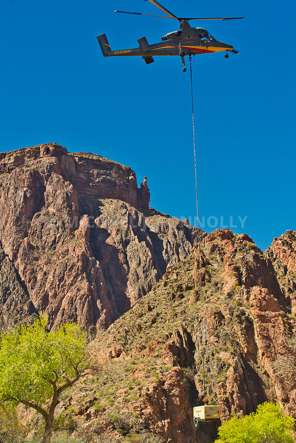 Helicopter Airdrop At Phantom Ranch Grand Canyon