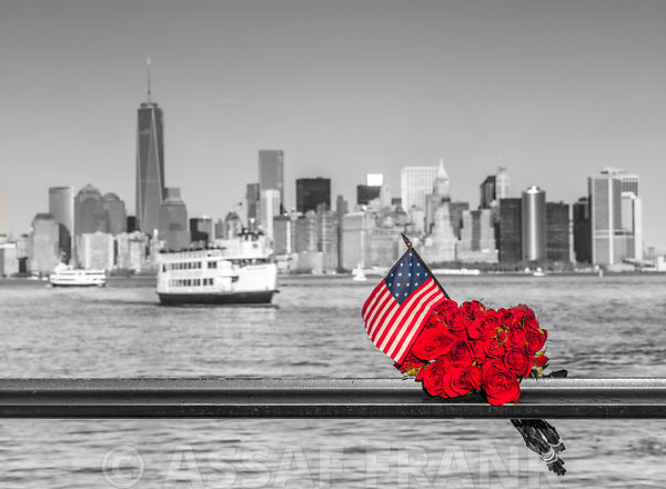 USA flag with bunch of roses on railing with Lower manhattan skyline in background, New York