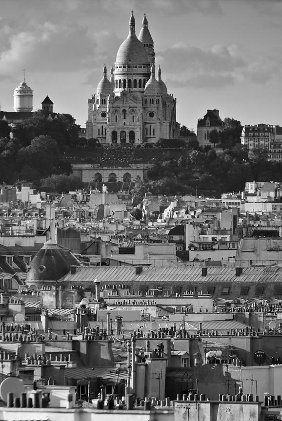 Sacre Coeur over rooftops
