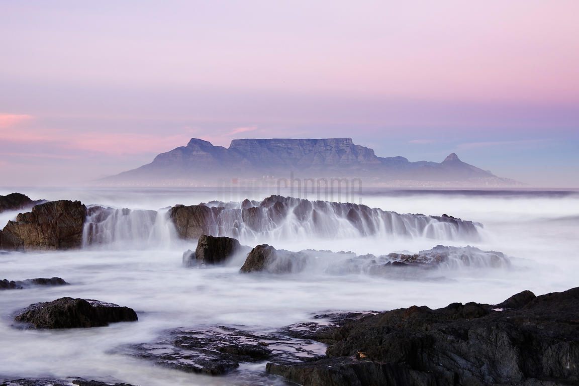 Table Mountain from Bloubergstrand at Dawn Western Cape South Africa