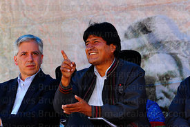 Bolivian president Evo Morales gestures at an event to celebrate Bolivia rejoining the 1961 UN Single Convention on Narcotic ...