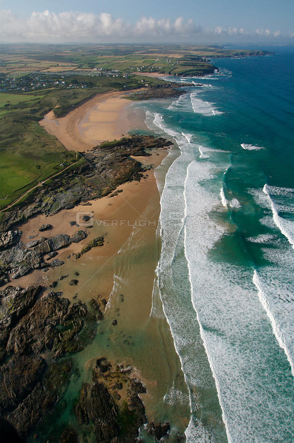 Aerial view of Boob's Bay and Contantine Bay, Cornwall, UK