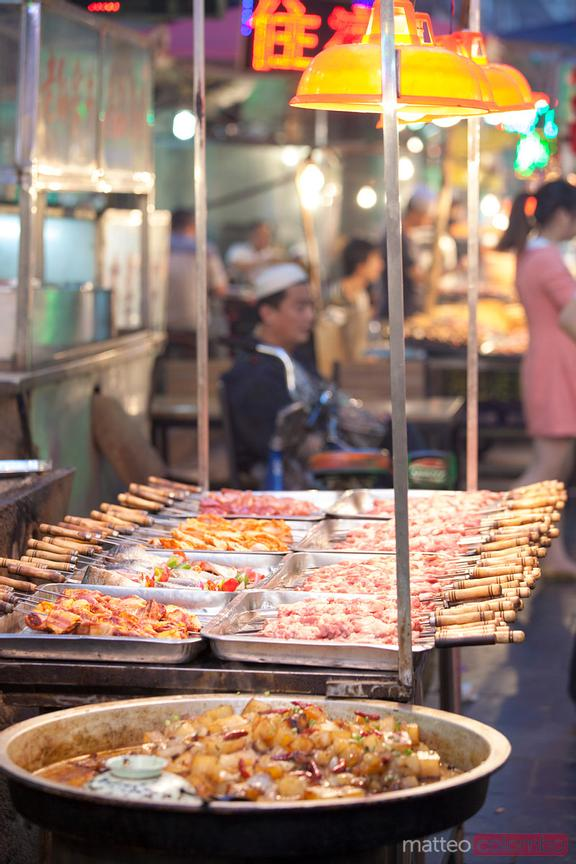 Street food market in the muslim quarter of Xian, China