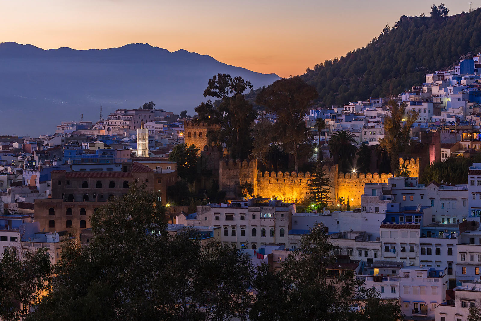 Elevated View Looking Towards the Ancient Casbah of Chefchaouen and the Square of Uta el Hammam at Dusk