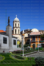 Monument to Alonso de Mendoza and San Sebastian church, Plaza Alonso de Mendoza, La Paz, Bolivia