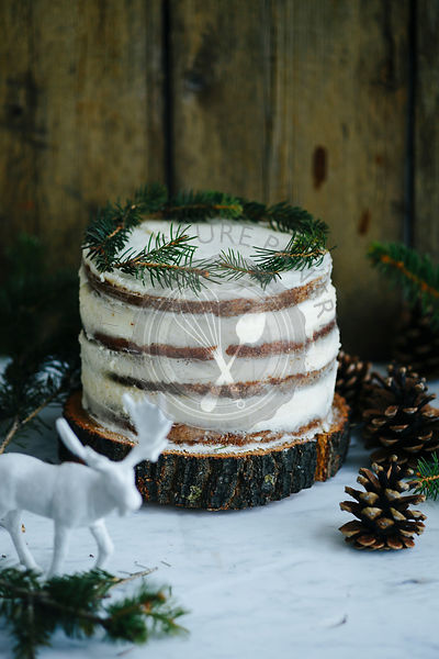 Naked cake on a marble background