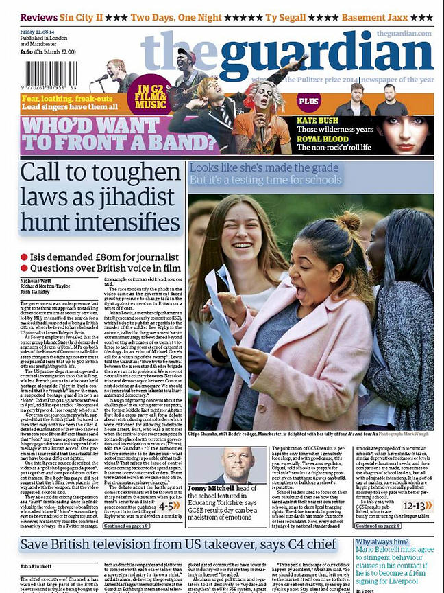 The Guardian front page for GCSE results St Beds