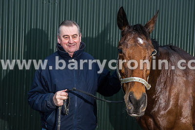 5th March, 2015.Champion National Hunt Trainer Noel Meade with the racehorse 'Road to Riches'  at his Tu Va Stables,Castletow...