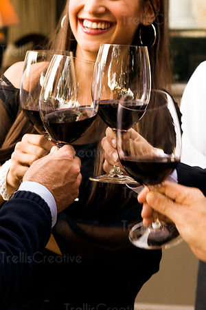 A young woman toasts a group of people with red wine