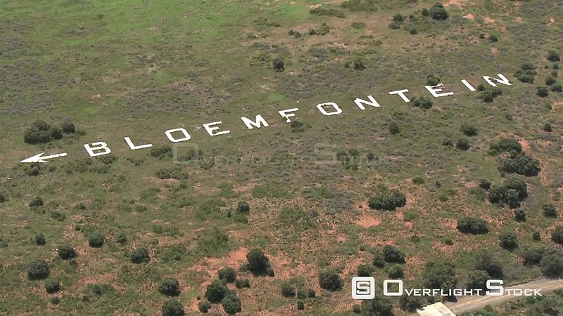 Aerial shot of a white rocks making up the word Bloemfontein Bloemfontein Free State South Africa