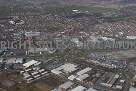 Widnes high level aerial photograph looking across from Dennis road and Fiddlers Ferry road towards Ashley Way and various re...