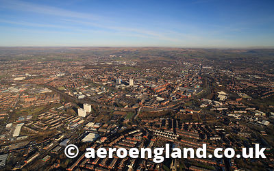 aerial photograph of Oldham Greater Manchester England UK