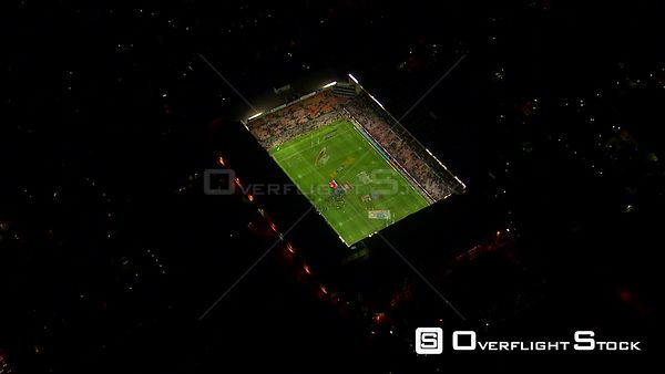 Aerial shot of Newlands Stadium at night. Western Cape South Africa