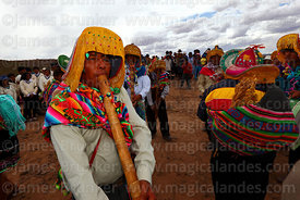 Indigenous musician playing Pinquillo del Anata or Carnival Flute, Viluyo, Potosí Department, Bolivia