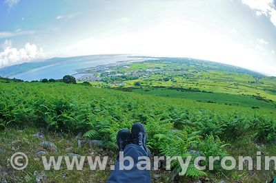 15th June, 2009. The view of Carlingford as seen from Slieve Foye (Elevation 589 metres) as part of The Tain Way, Carlingford...