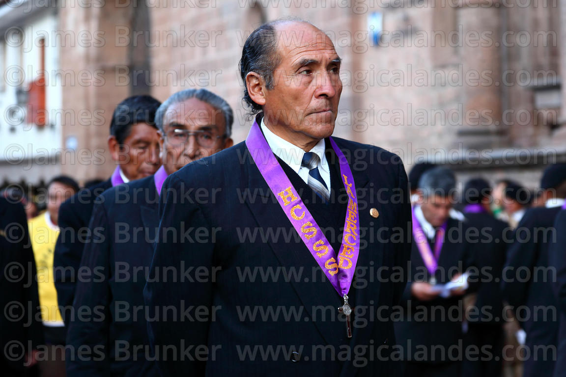 Member of the Brotherhood of Knights of the Lord of the Holy Sepulchre during Good Friday procession , Cusco , Peru