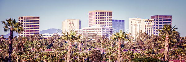 Newport Beach Skyline Retro Panorama Photo