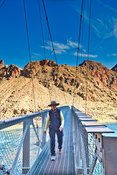 Female Hiker On Hikers Bridge- Near Phantom Ranch, Grand Canyon