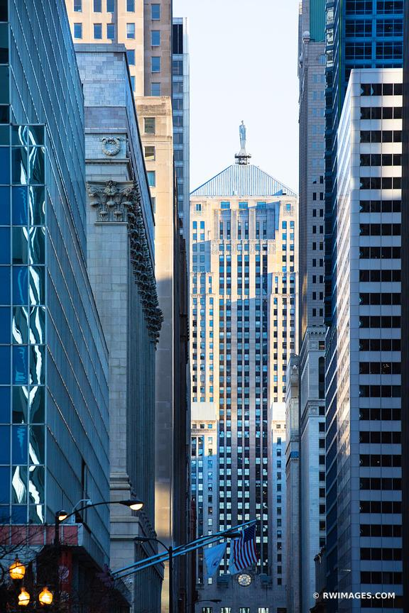 LA SALLE STREET URBAN CANYON CHICAGO BOARD OF TRADE BUILDING CHICAGO ILLINOIS COLOR VERTICAL