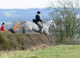 Willie Reardon jumping a hedge above Wilson's covert