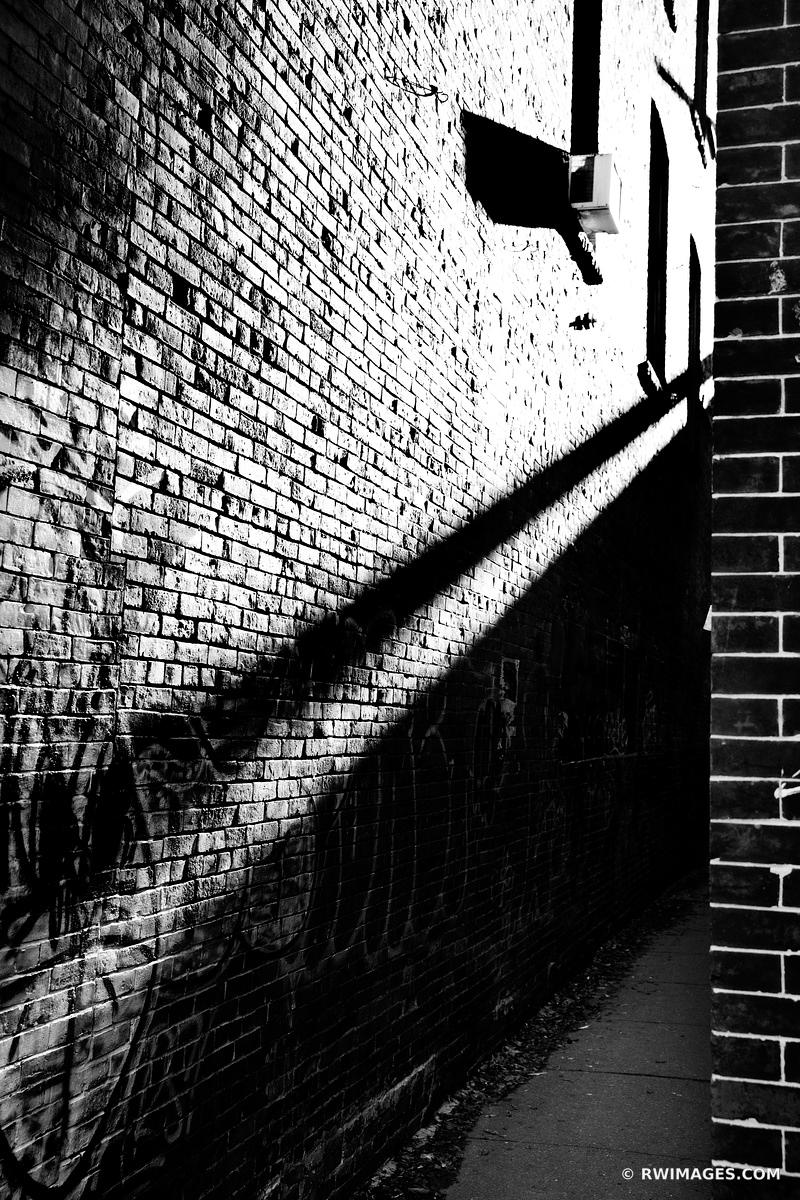 DOWNTOWN ALLEY PORTLAND MAINE BLACK AND WHITE