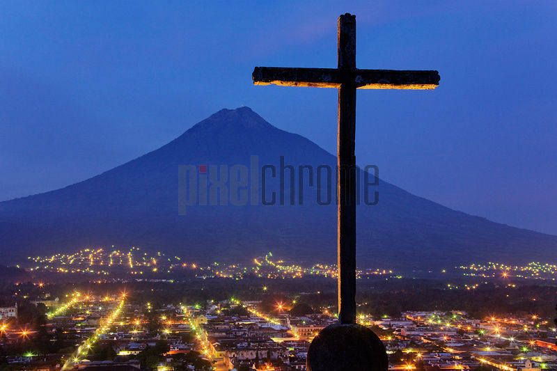 View of Antigua and Volcan Agua from Cerro de la Cruz at Dawn