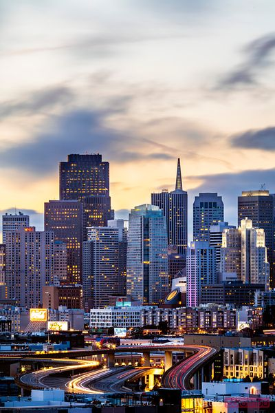 Downtown skyline at dusk, San Francisco, California, USA
