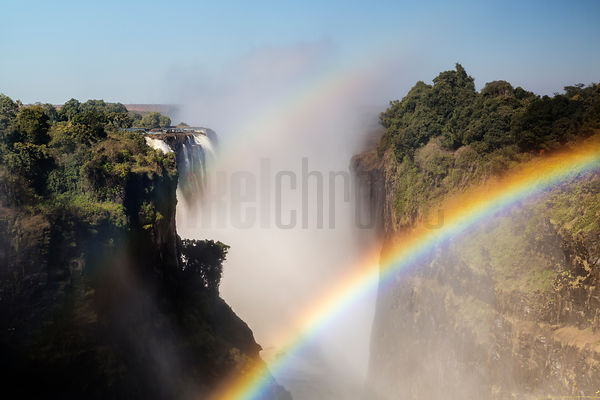 Double Rainbow at Victoria Falls Looking Down the Zambezi River Gorge