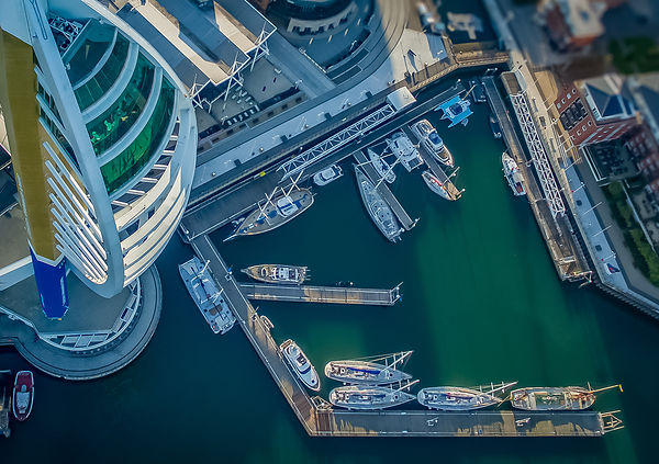 Bird's Eye View of The Spinnaker Tower and Gunwharf Quays Marina