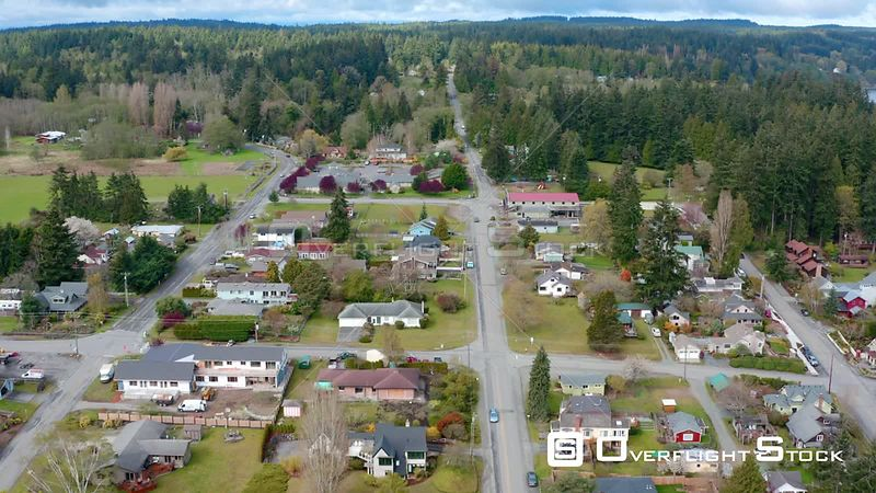 Drone Video Small Town Seaside Village Of Langley, Whidbey Island, Washington