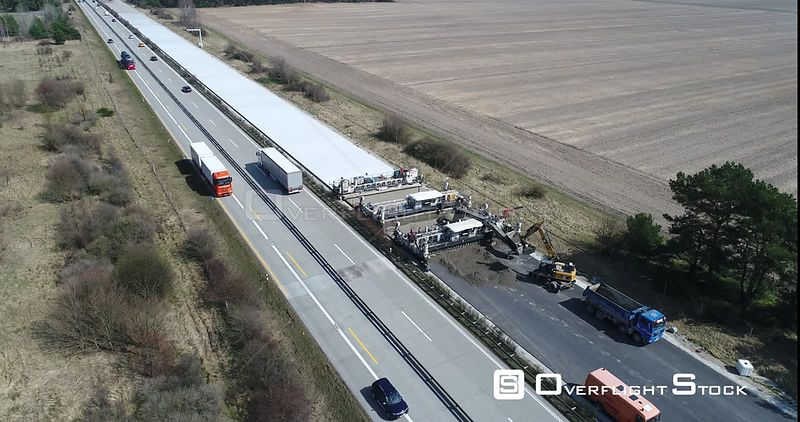 Motorway extension and widening of track in the route of the A9 motorway in Linthe in the state of Brandenburg, Germany