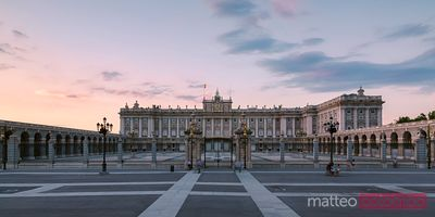 Royal palace at sunset, Madrid, Spain