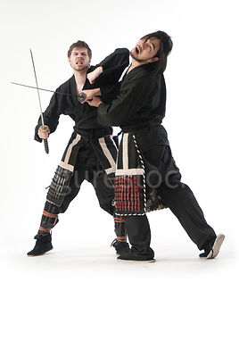 Two Samurai warrior training - shot from mid-level.