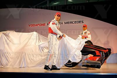 Jenson Button (GBR), Lewis Hamilton (GBR), McLaren MP4-25 Launch, Newbury, GB, Vodafone, Mercedes