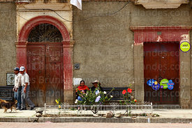 Doorways of building on Plaza Aroma, Tarata, Cochabamba Department, Bolivia