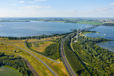Hellegatsplein junction on the  Volkerak dam, it connects the A29 and the N59. Delta works, Willemstad, North Brabant, the Ne...