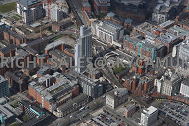 Manchester view of the area surrounding the Students Castle apartments and Oxford Road Railway Station development area of Ox...