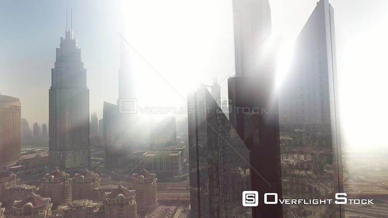 Dubai Downtown skyscrapers aerial view with light rays coming from the sky. UAE.
