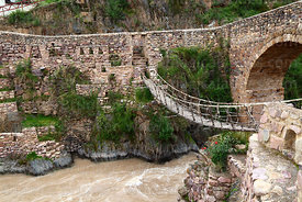 Colonial and replica Inca bridges over the Pitumarca River, Checacupe, Cusco Region, Peru