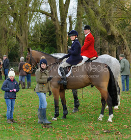Annie and David Bellamy at the meet at Goadby Hall - The Belvoir Hunt at Goadby Hall 24/12