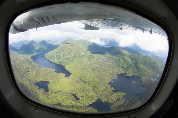 Great Bear Rainforest (temperate rainforest) viewed from aeroplane window, British Columbia, Canada.