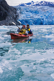 Kayakers in front of Glacier