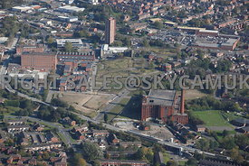 Oldham aerial photograph of old mills on Suthers Street and Riding Way and Block Lane Featherstall Oldham