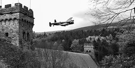 Canadian Lancaster VR-A at the Derwent Dam black and white version