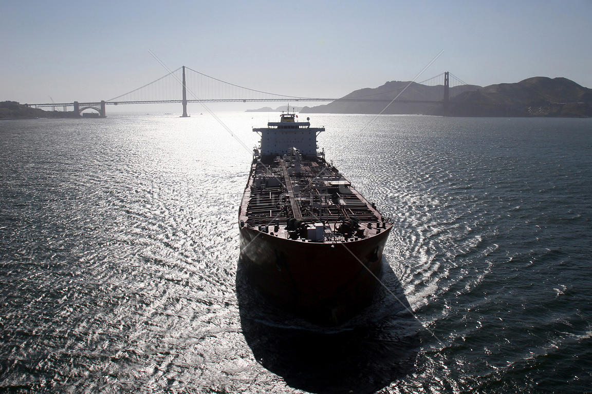 Tanker entering the San Francisco Bay, California
