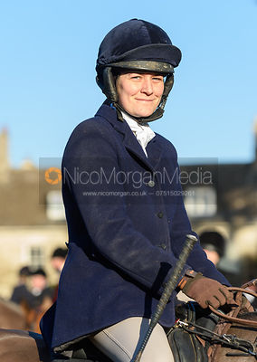 Caroline Bartram at the Cottesmore Hunt meet at Pickwell Manor 8/1