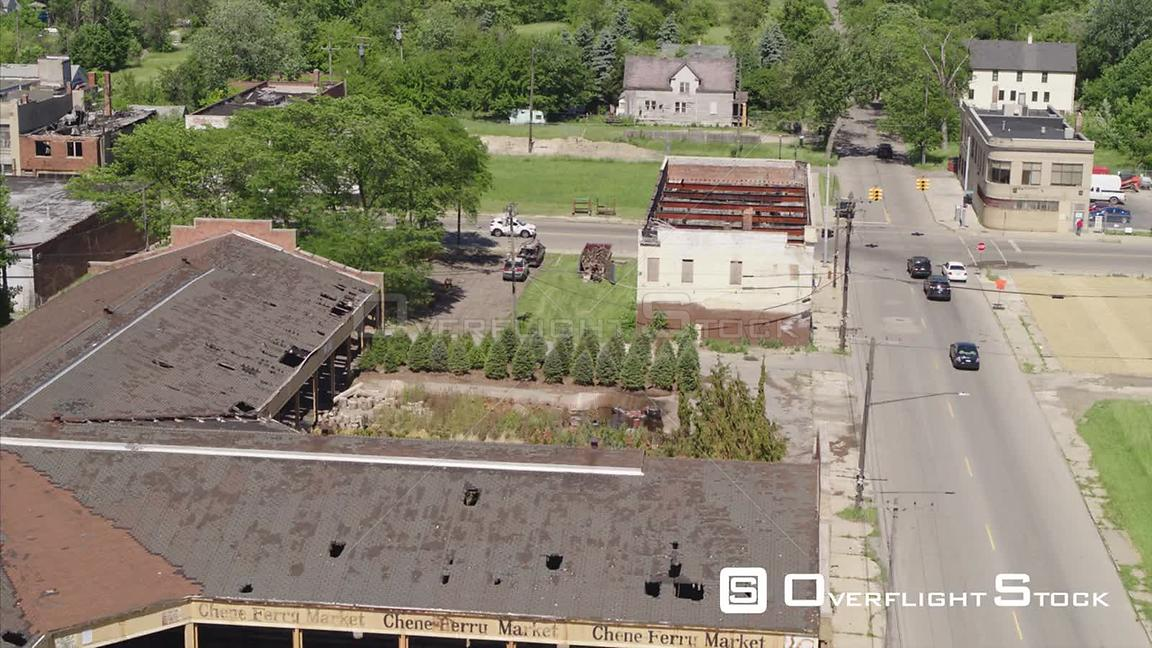Drone Video Abandoned Commercial Zone and Residential Detroit Michigan