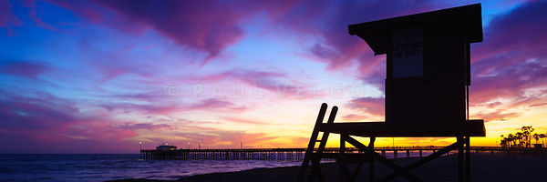 Lifeguard Tower B and Newport Balboa Pier Sunset Panorama