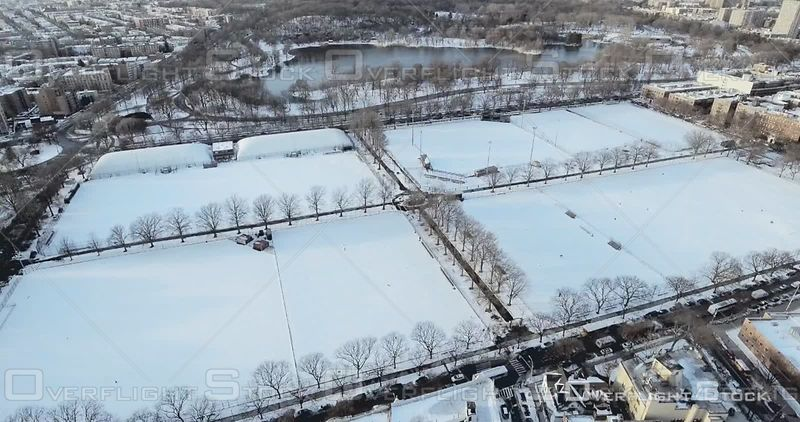 Aerial High Above Snowy Football and Soccer Fields Brooklyn Prospect Park Winter NYC