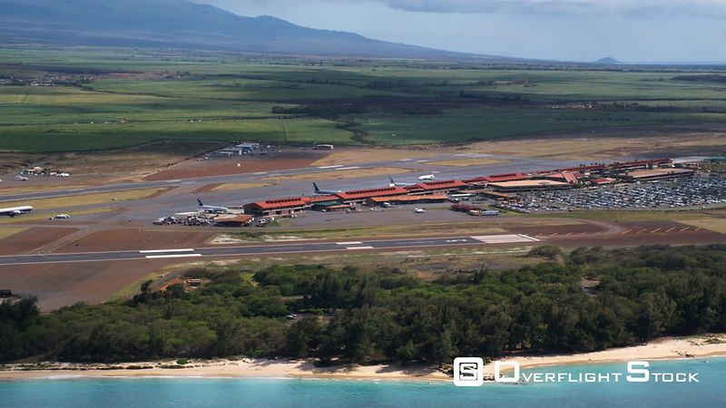 Flying past Kahului Airport, Hawaii.